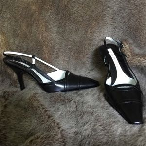 Via Spiga Italian Black Leather Slingback Heel 4.5